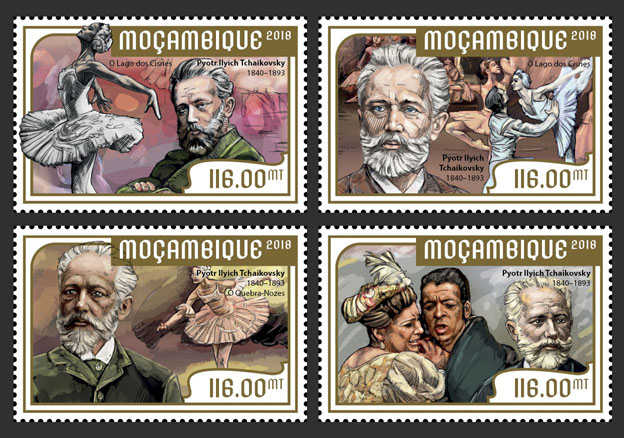 Pyotr Ilyich Tchaikovsky (set of 4 stamps) - Issue of Mozambique postage Stamps