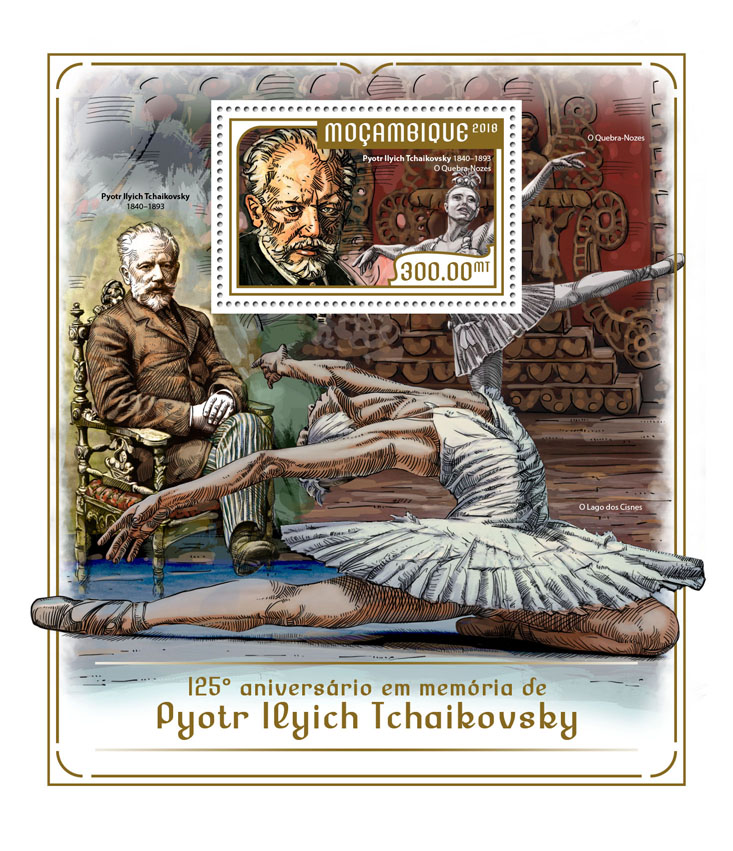 Pyotr Ilyich Tchaikovsky - Issue of Mozambique postage Stamps