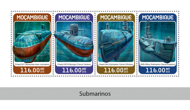 Submarines - Issue of Mozambique postage Stamps