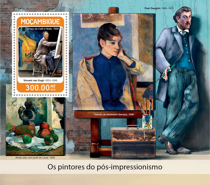 Great Post-impressionists - Issue of Mozambique postage Stamps
