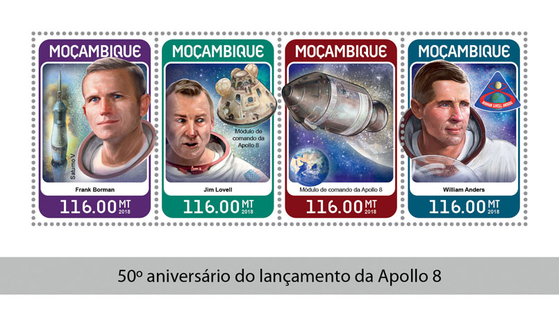 Apollo 8 - Issue of Mozambique postage Stamps