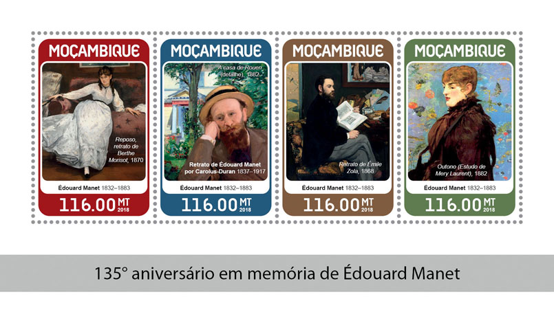 Édouard Manet - Issue of Mozambique postage Stamps
