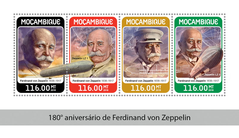 Ferdinand von Zeppelin - Issue of Mozambique postage Stamps