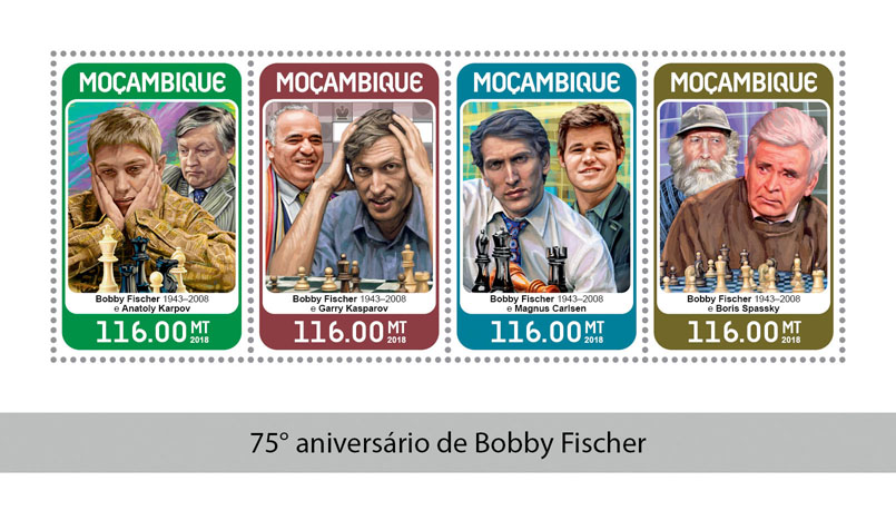 Bobby Fischer - Issue of Mozambique postage Stamps