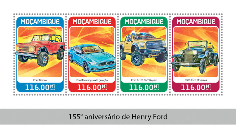Henry Ford - Issue of Mozambique postage Stamps