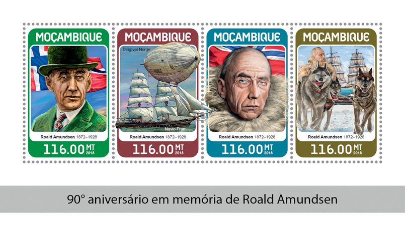 Roald Amundsen - Issue of Mozambique postage Stamps