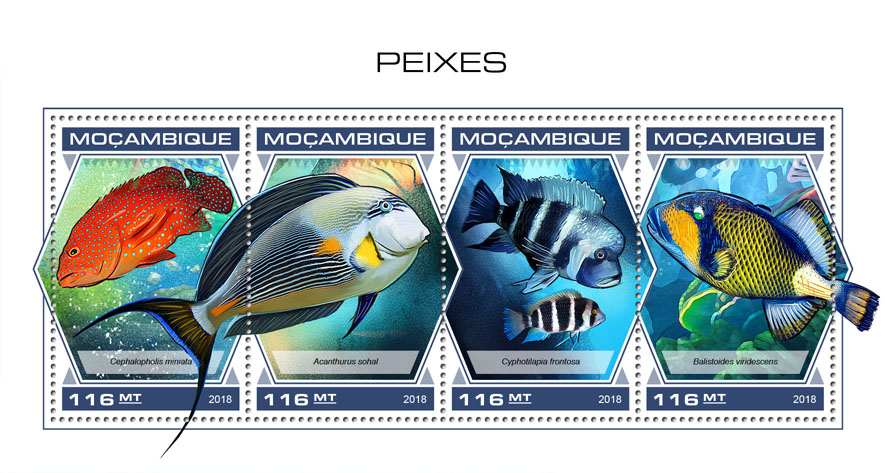 Fishes - Issue of Mozambique postage Stamps