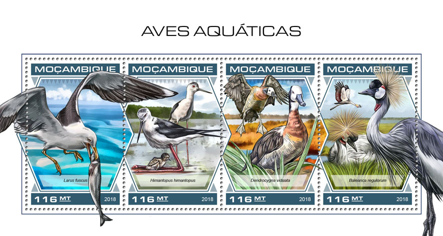 Water birds - Issue of Mozambique postage Stamps