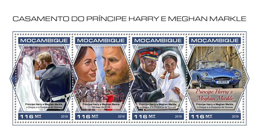 Wedding of Prince Harry and Meghan Markle - Issue of Mozambique postage Stamps