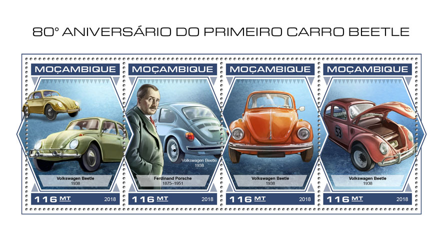 Beetle car - Issue of Mozambique postage Stamps