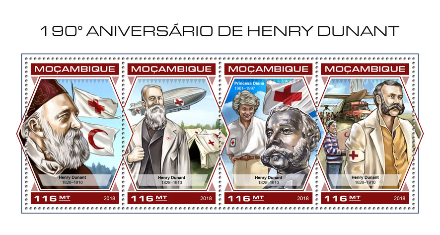 Henry Dunant - Issue of Mozambique postage Stamps