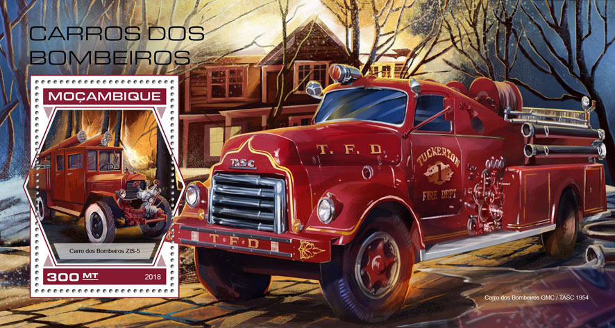 Fire engine - Issue of Mozambique postage Stamps