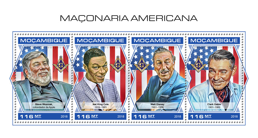 American Freemasonry - Issue of Mozambique postage Stamps