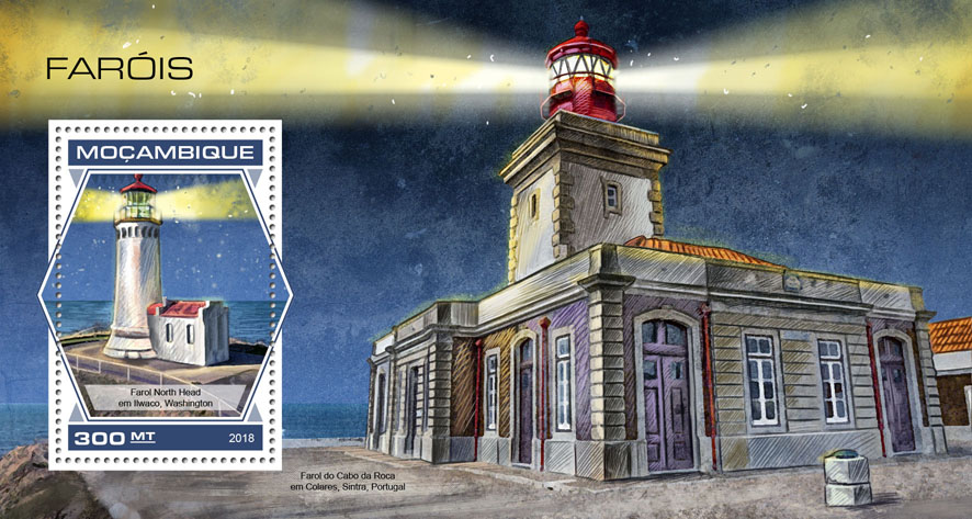 Lighthouses - Issue of Mozambique postage Stamps