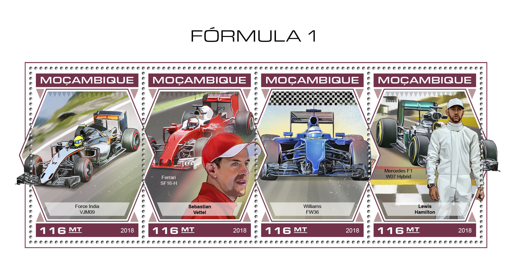 Formula 1 - Issue of Mozambique postage Stamps
