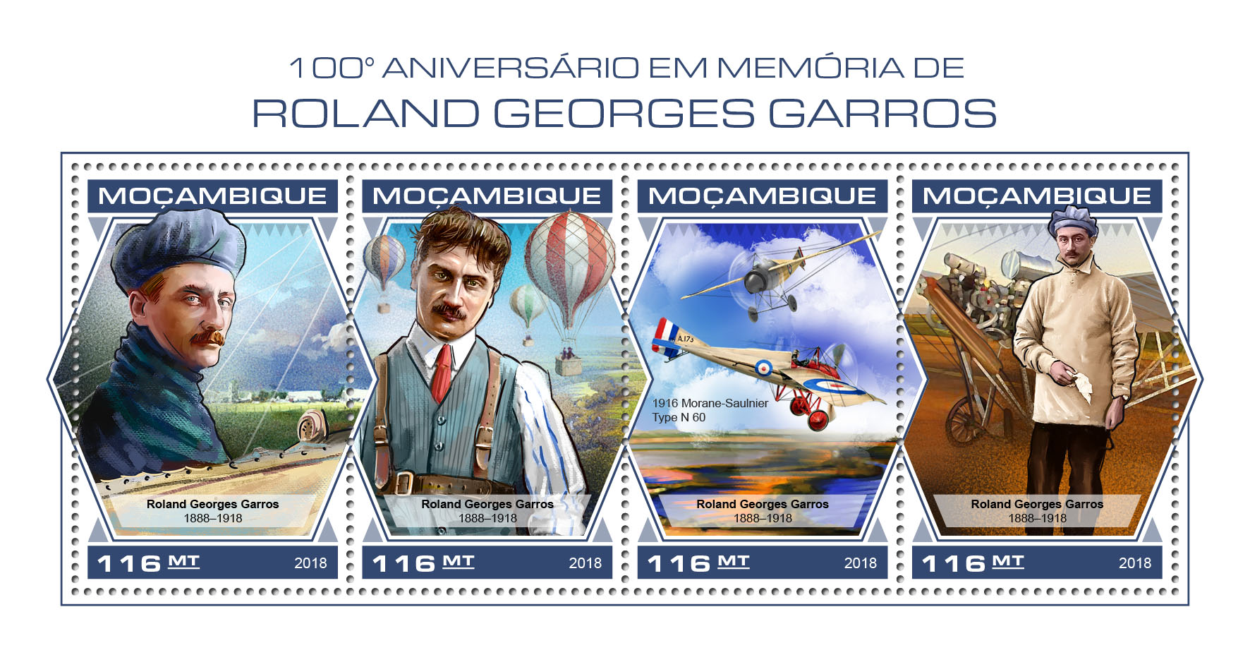 Roland Georges Garros - Issue of Mozambique postage Stamps