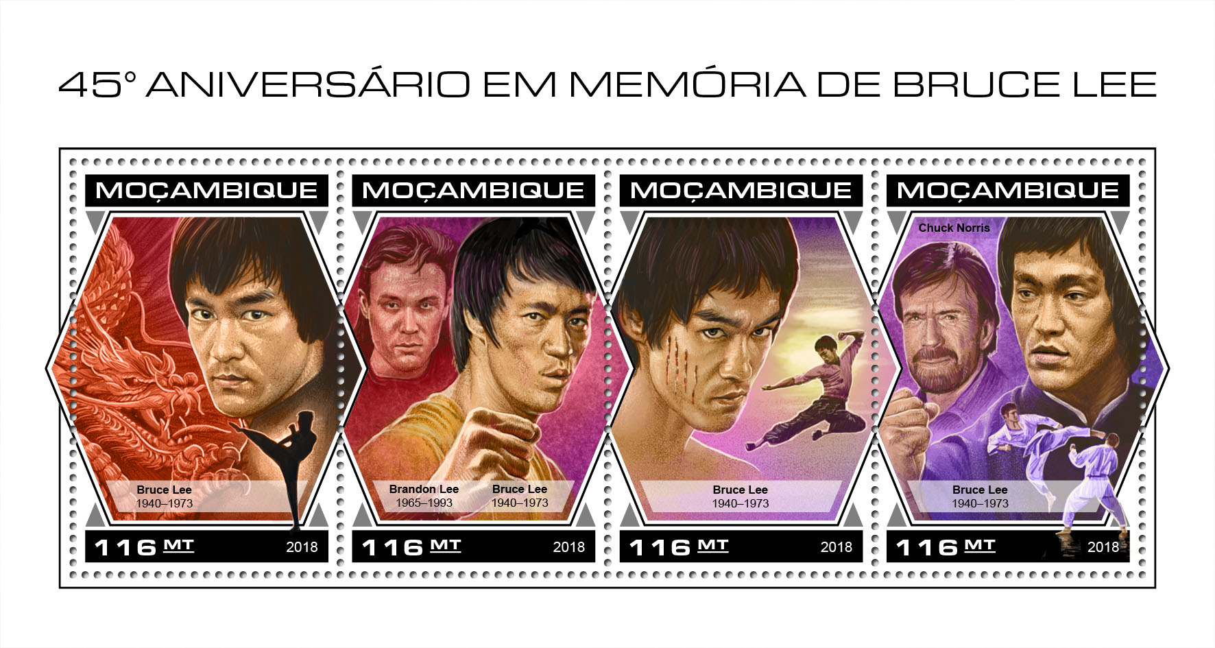 Bruce Lee - Issue of Mozambique postage Stamps