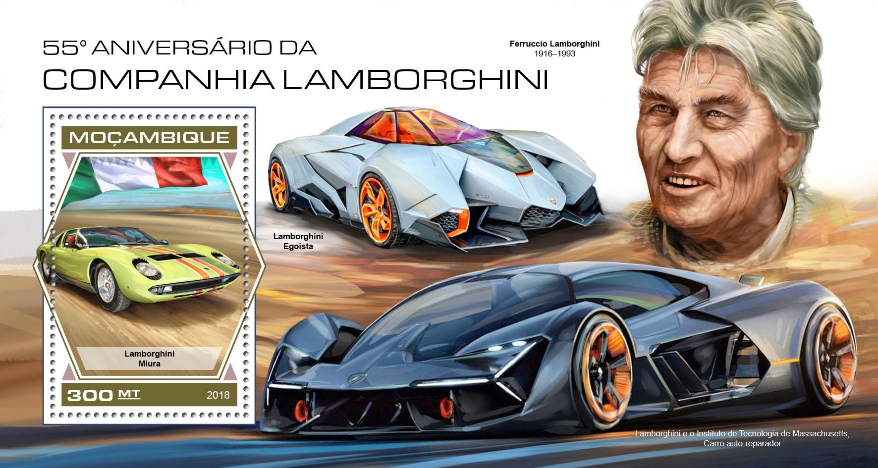 Lamborghini Company - Issue of Mozambique postage Stamps