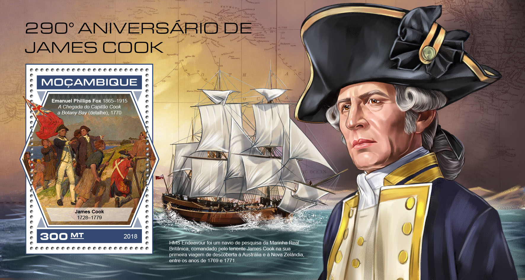 James Cook - Issue of Mozambique postage Stamps