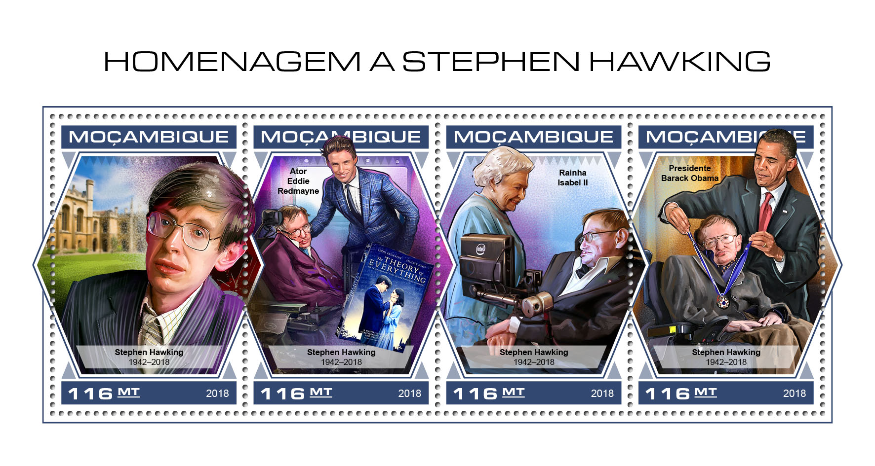 Stephen Hawking - Issue of Mozambique postage Stamps