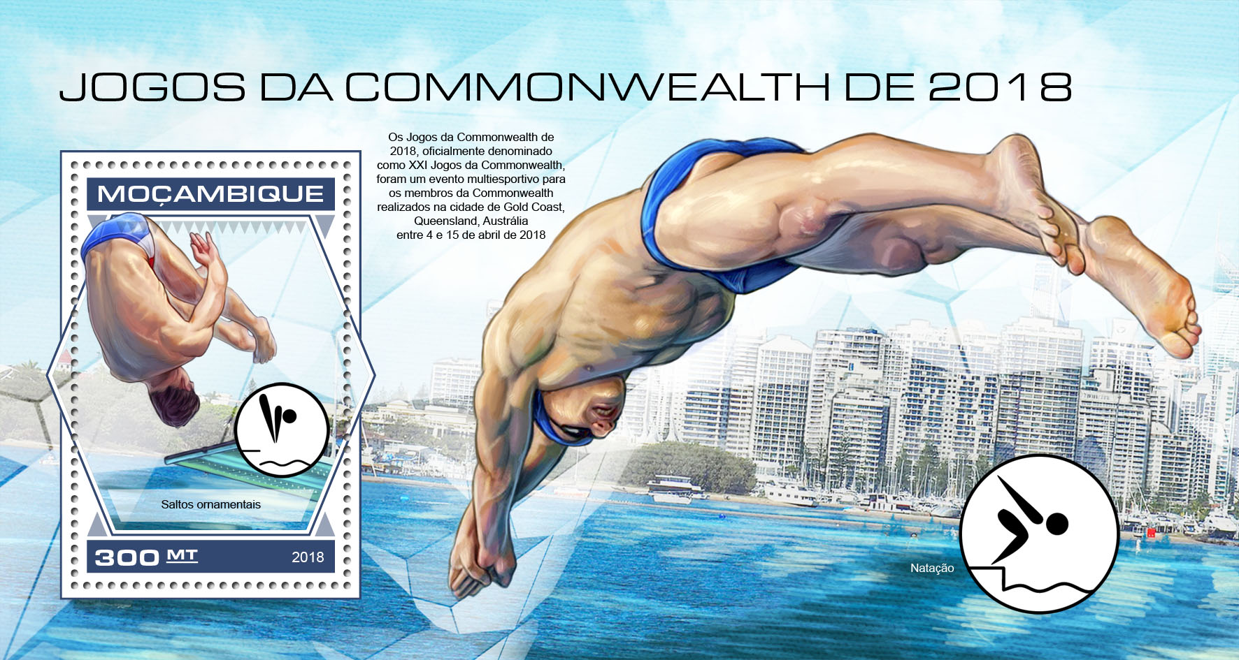 Commonwealth Games 2018 - Issue of Mozambique postage Stamps