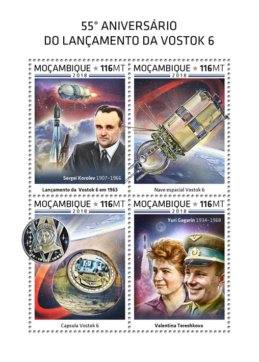 Launch of Vostok 6 - Issue of Mozambique postage Stamps