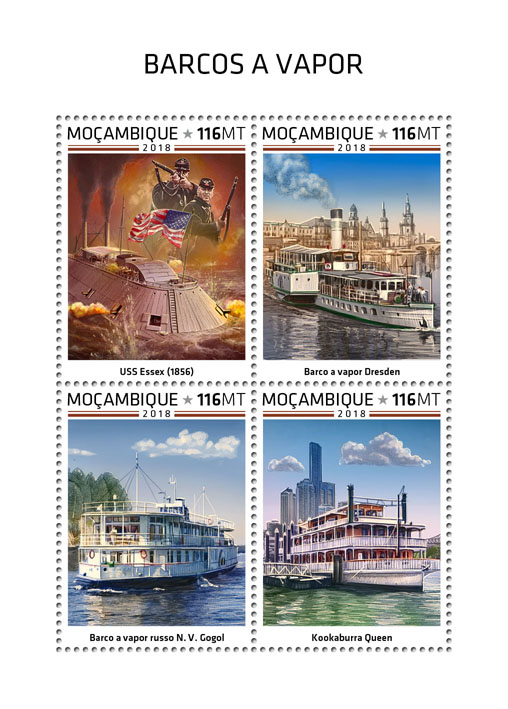 Steam boats - Issue of Mozambique postage Stamps