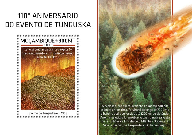 Tunguska event - Issue of Mozambique postage Stamps