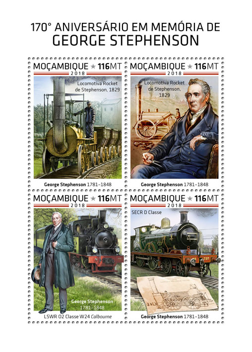 George Stephenson - Issue of Mozambique postage Stamps