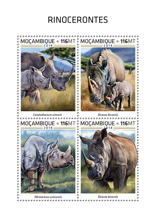 Rhinos - Issue of Mozambique postage Stamps