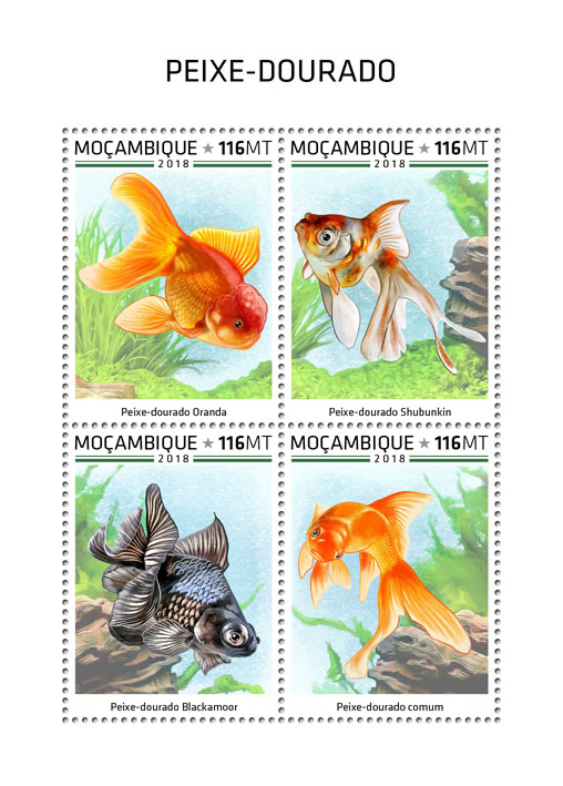 Goldfish - Issue of Mozambique postage Stamps