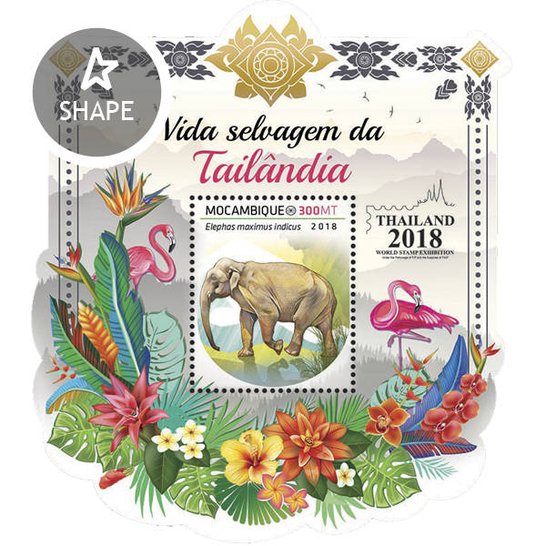 Wildlife of Thailand - Issue of Mozambique postage Stamps