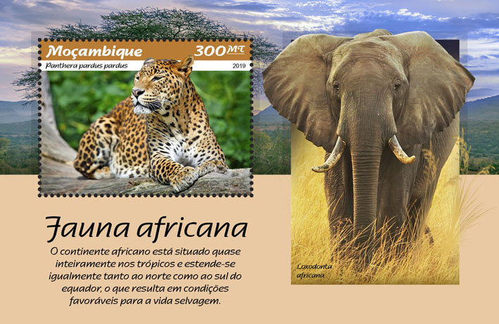 African fauna - Issue of Mozambique postage Stamps