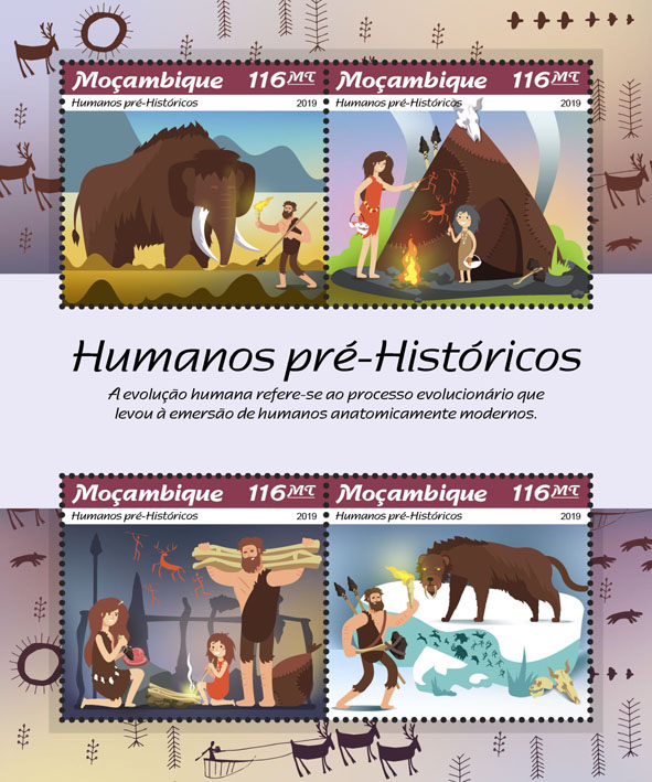 Prehistoric humans - Issue of Mozambique postage Stamps