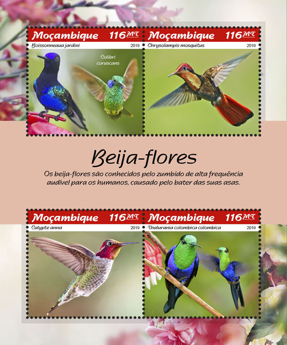 Hummingbirds - Issue of Mozambique postage Stamps
