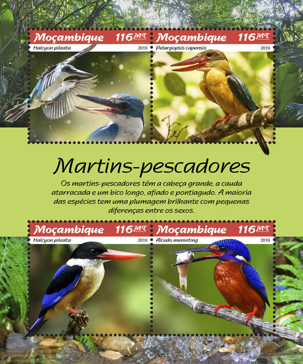 Kingfishers - Issue of Mozambique postage Stamps