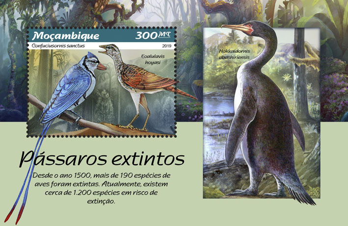 Extinct birds - Issue of Mozambique postage Stamps