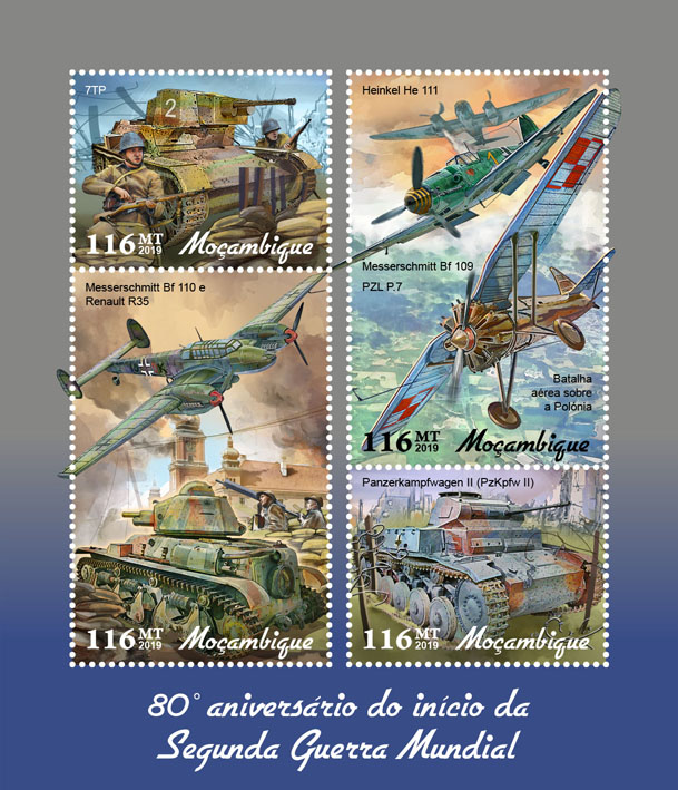 World War II - Issue of Mozambique postage Stamps