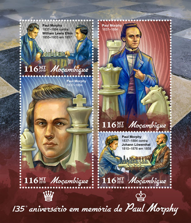 Paul Morphy - Issue of Mozambique postage Stamps