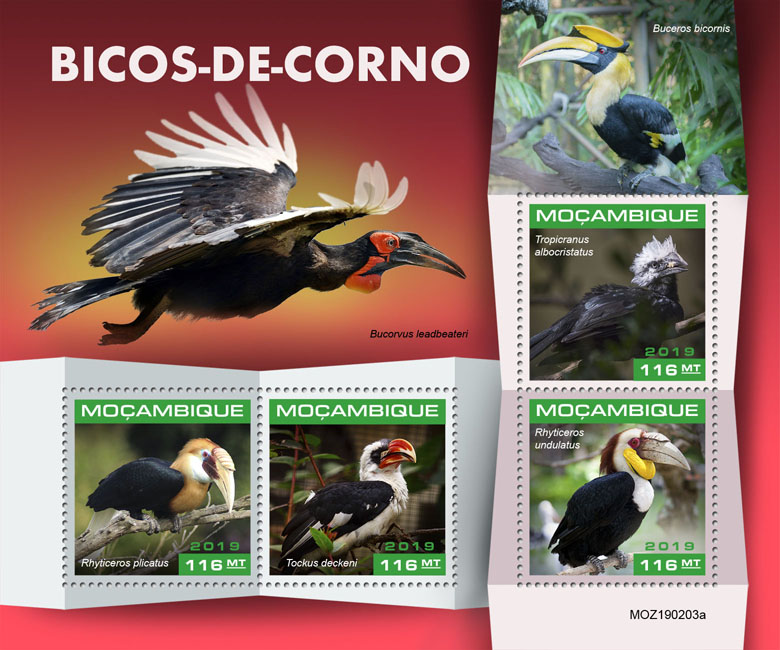 Hornbills - Issue of Mozambique postage Stamps