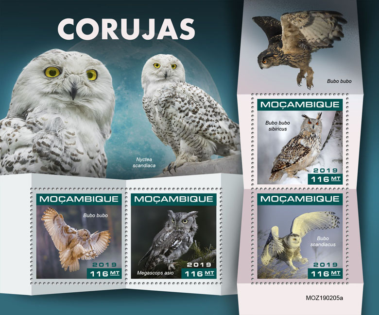 Owls - Issue of Mozambique postage Stamps