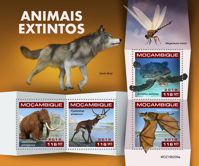 Extinct species - Issue of Mozambique postage Stamps