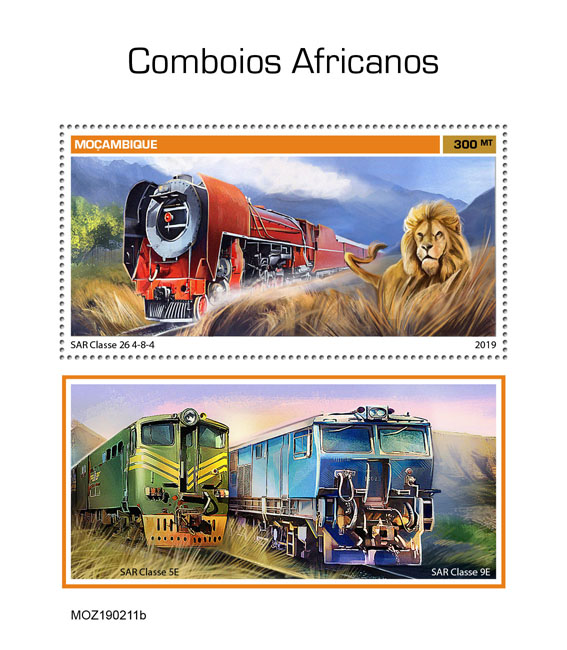 African trains - Issue of Mozambique postage Stamps
