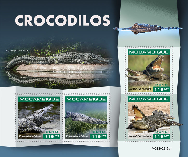 Crocodiles - Issue of Mozambique postage Stamps