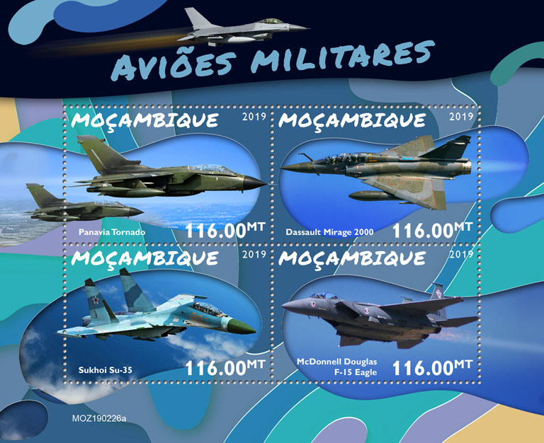 Military planes - Issue of Mozambique postage Stamps