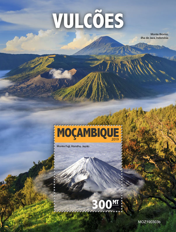 Volcanoes - Issue of Mozambique postage Stamps