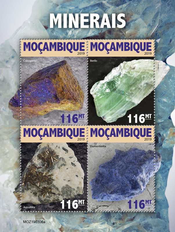 Minerals - Issue of Mozambique postage Stamps
