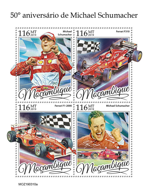 Michael Schumacher - Issue of Mozambique postage Stamps