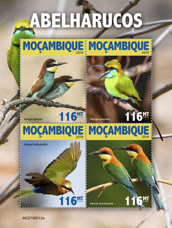 Bee eaters - Issue of Mozambique postage Stamps