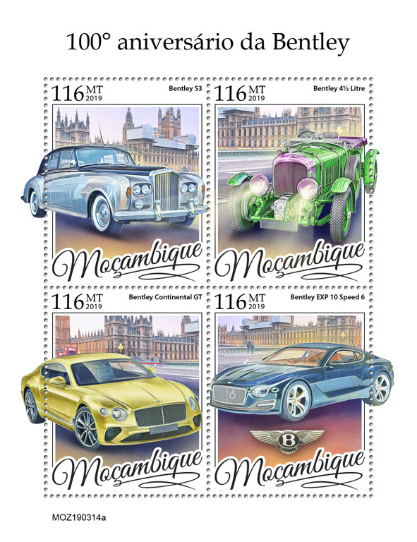 Bentley - Issue of Mozambique postage Stamps